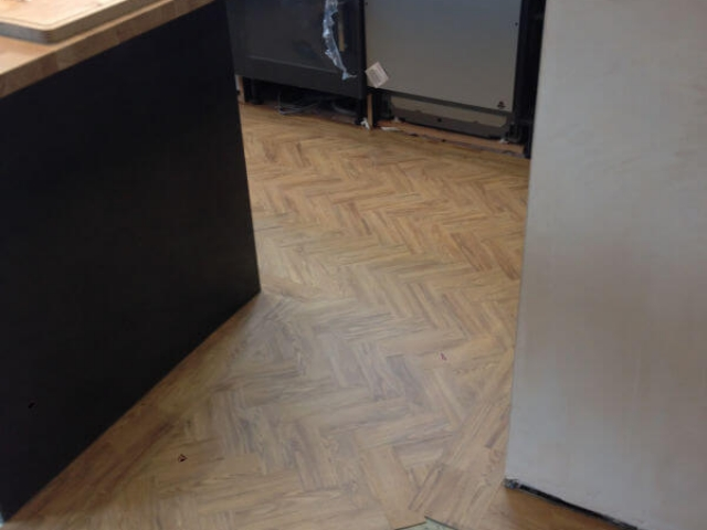 Neobo Parquet luxury vinyl tiles in wild barley installed by Cheadle Floors