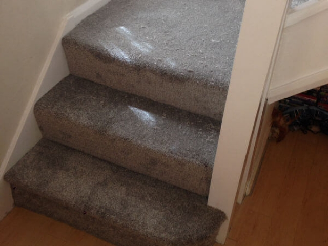 New staircase and landing carpet being fitted in Hazel Grove