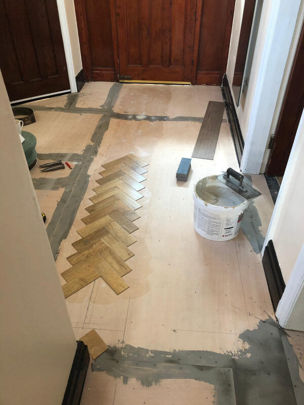 Karndean Art Select Blonde Oak Parquet Floor being fitted