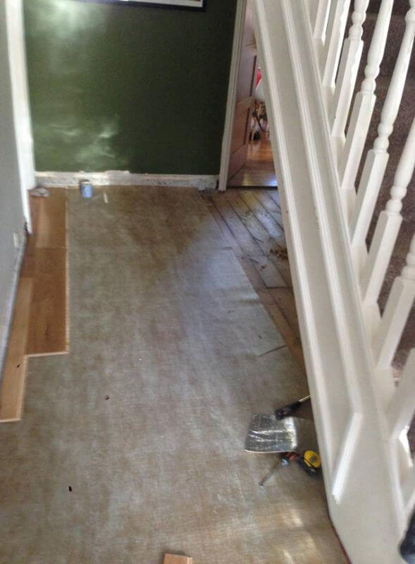 New wooden floor being fitted