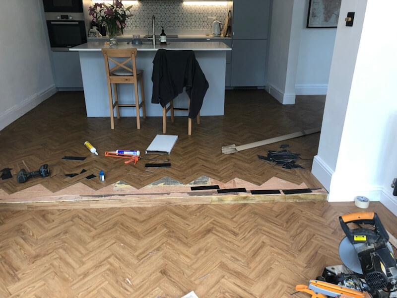 Neobo Wild Barley Parquet flooring being fitted in Prestbury
