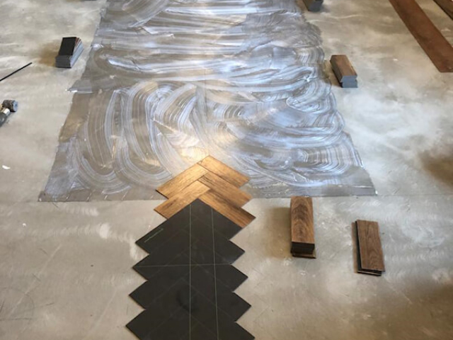 Karndean Art Select Parquet Floor Being Fitted