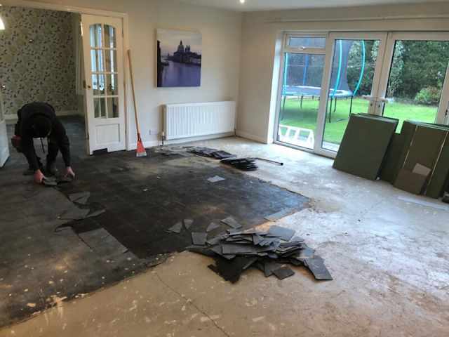 We uplifted old flooring and applied a smoothing compound