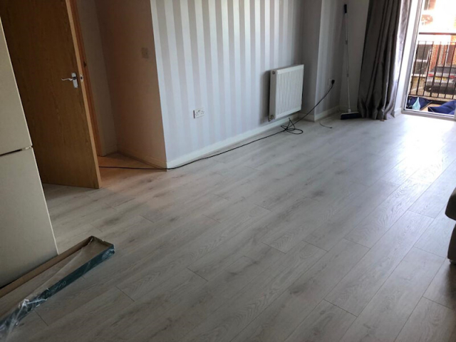 Dartmoor oak laminate installed in living room and kitchen