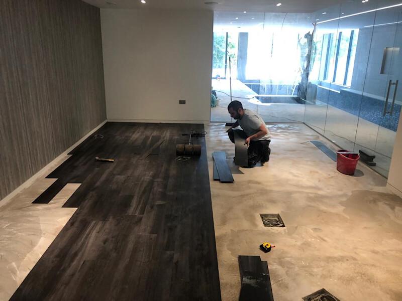 Karndean flooring being fitted