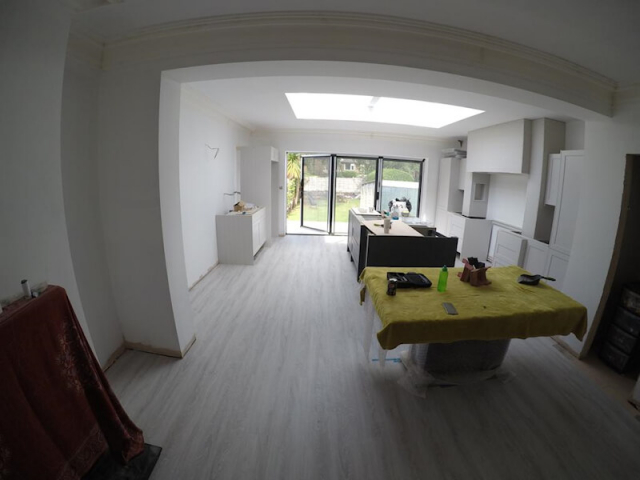 Luxury Vinyl Tiles Installed in a Newly Extended Kitchen and Diner