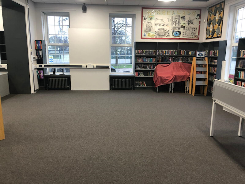 Paragon commercial carpet tiles fitted at Stockport School library