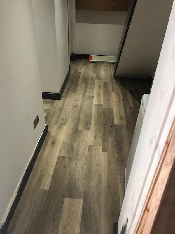 Karndean limed washed oak fitted in a basement